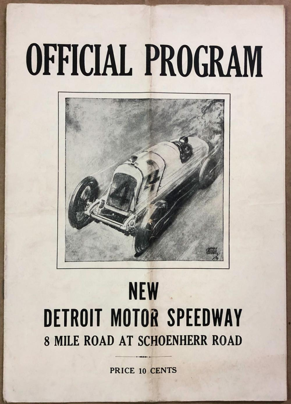 1932 Detroit Motor Speedway program (first race)