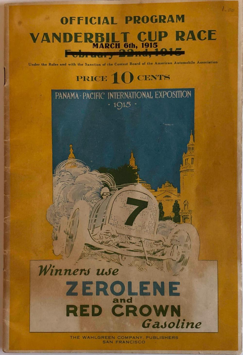 1915 San Francisco Vanderbilt Race program