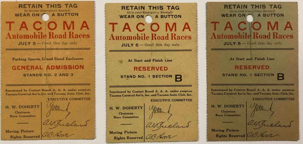 Three 1912 Tacoma Auto Race tickets