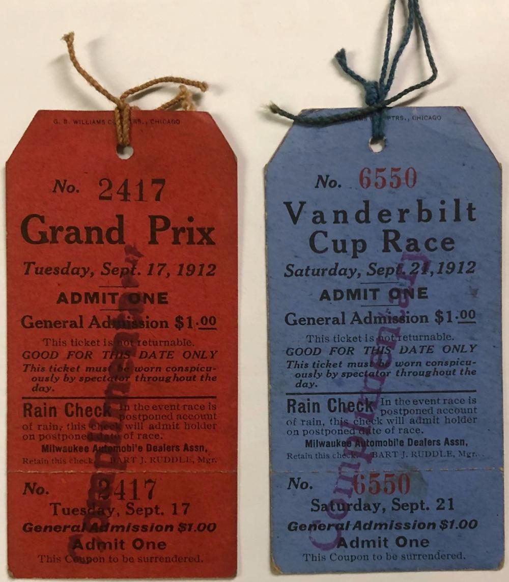 Two 1912 Vanderbilt Cup Race (never used) tickets