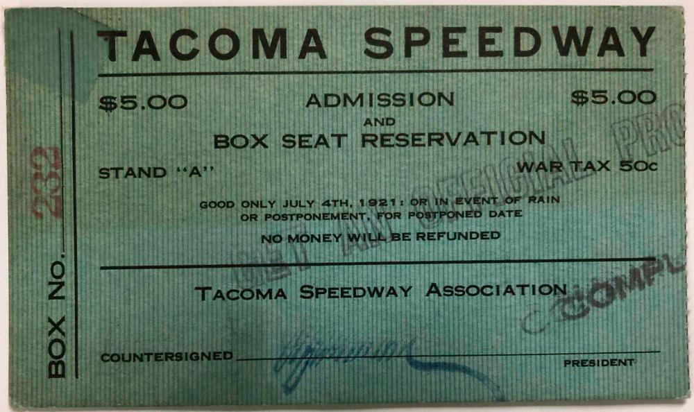 Three Tacoma Speedway tickets - one 1920, two 1921