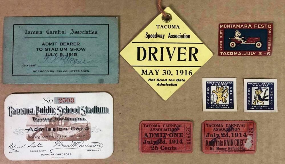 Tacoma related paper items incl 1916 Drivers tag