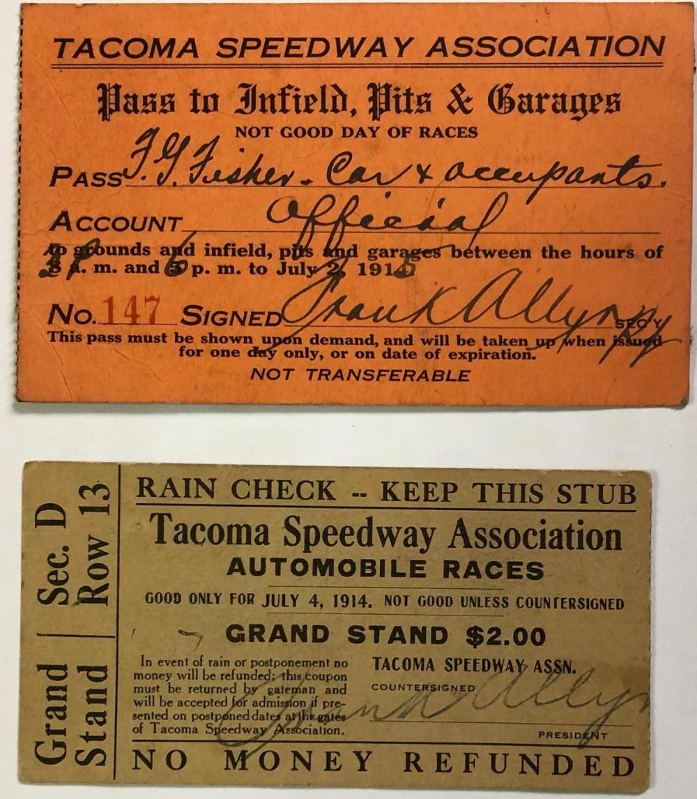 1914 and 1918 Tacoma Auto Race tickets