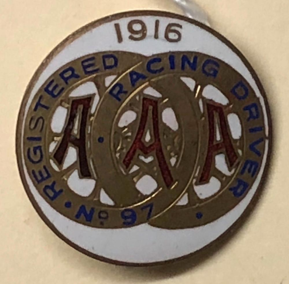 1916 AAA Registered Driver pin, white one inch dia