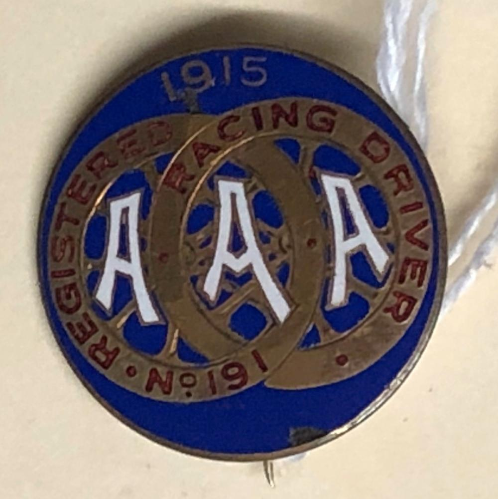 1915 AAA Registered Driver pin, blue one inch dia