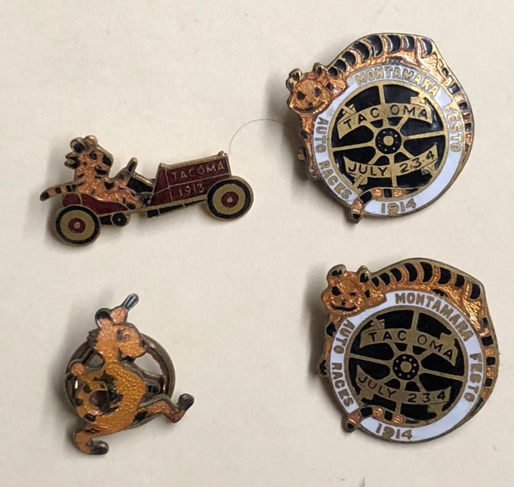 Four 1913-1914 Tacoma Race related pins