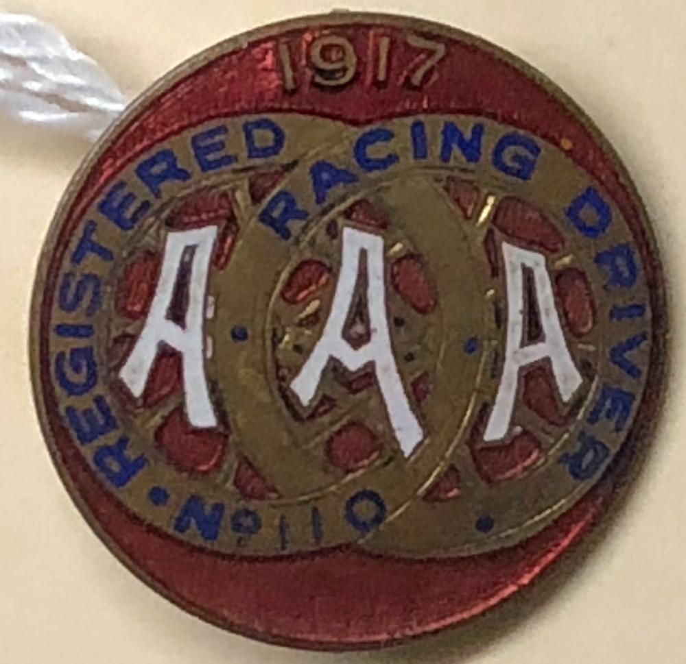 1917 AAA Registered Driver pin, red one inch dia