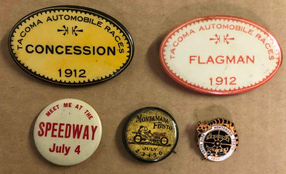 Five 1912-1914 Tacoma Race related pins