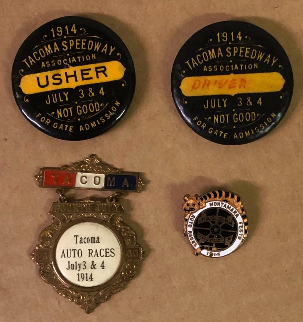 Four 1914 Tacoma Race related pins