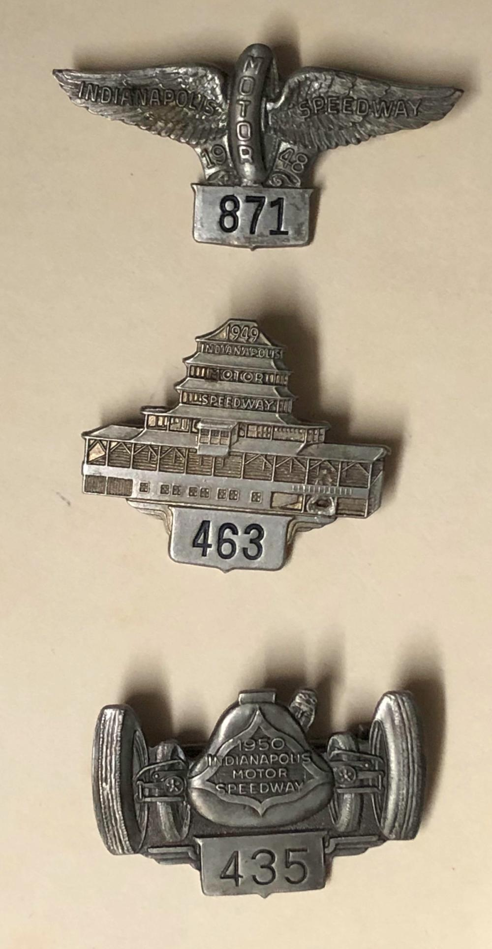 Three INDY 500 entrants pins, 1948, 1949, 1950