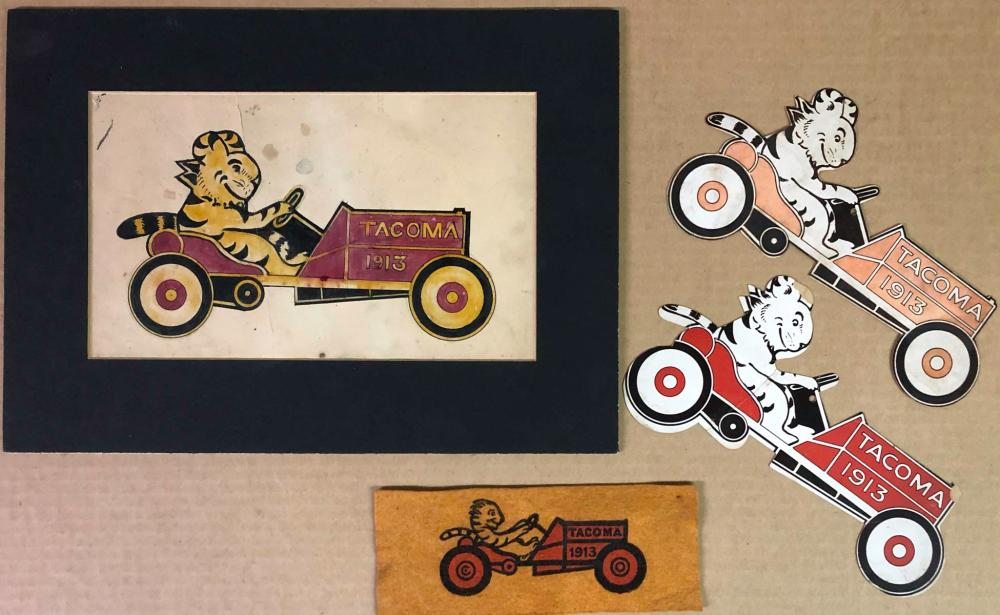Four 1913 Tacoma Race items with logo
