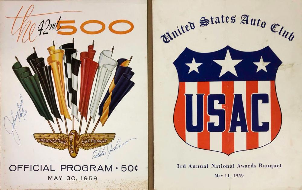 Two banquet programs - 1959 USAC, 1958 INDY 500