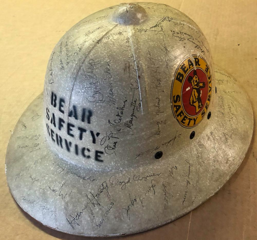 1949 Bear Equipment sun helmet, 40 plus autographs