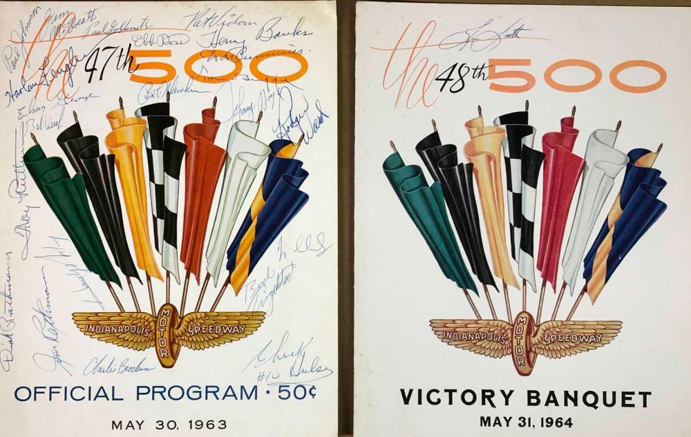 Two INDY 500 banquet programs, autographed
