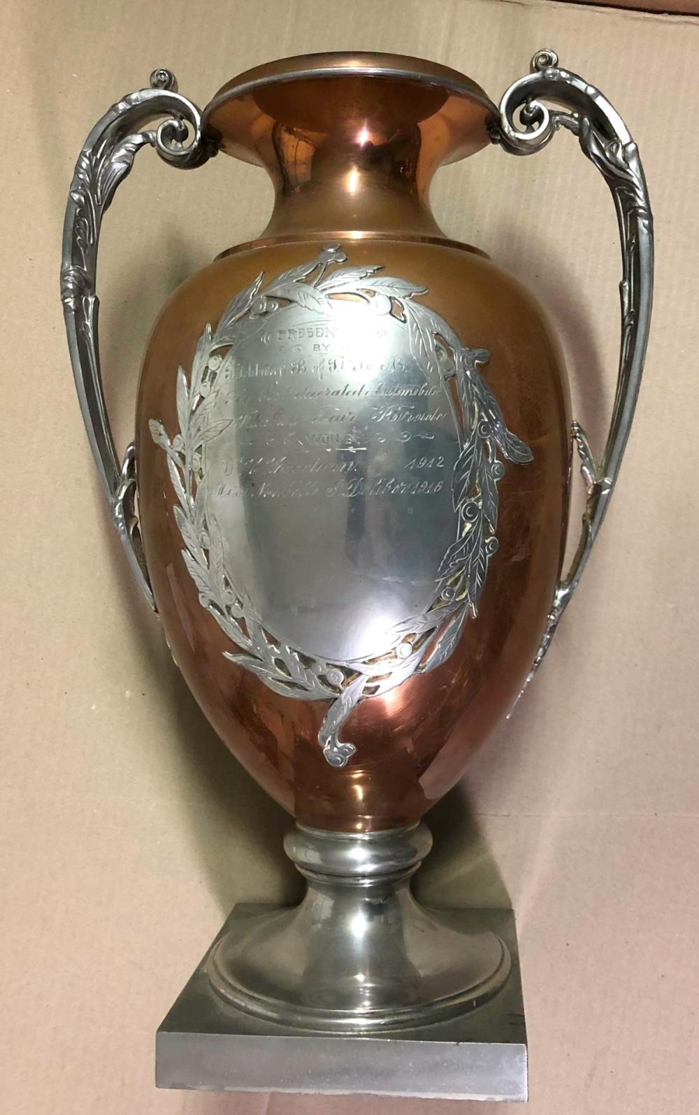 Fitchburg MA Decorated Auto trophy, 1912, 1916