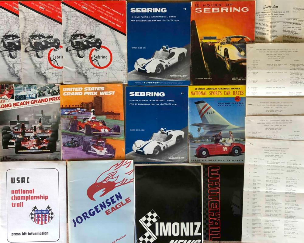 9 programs - incl 6 Sebring, 4 press kits