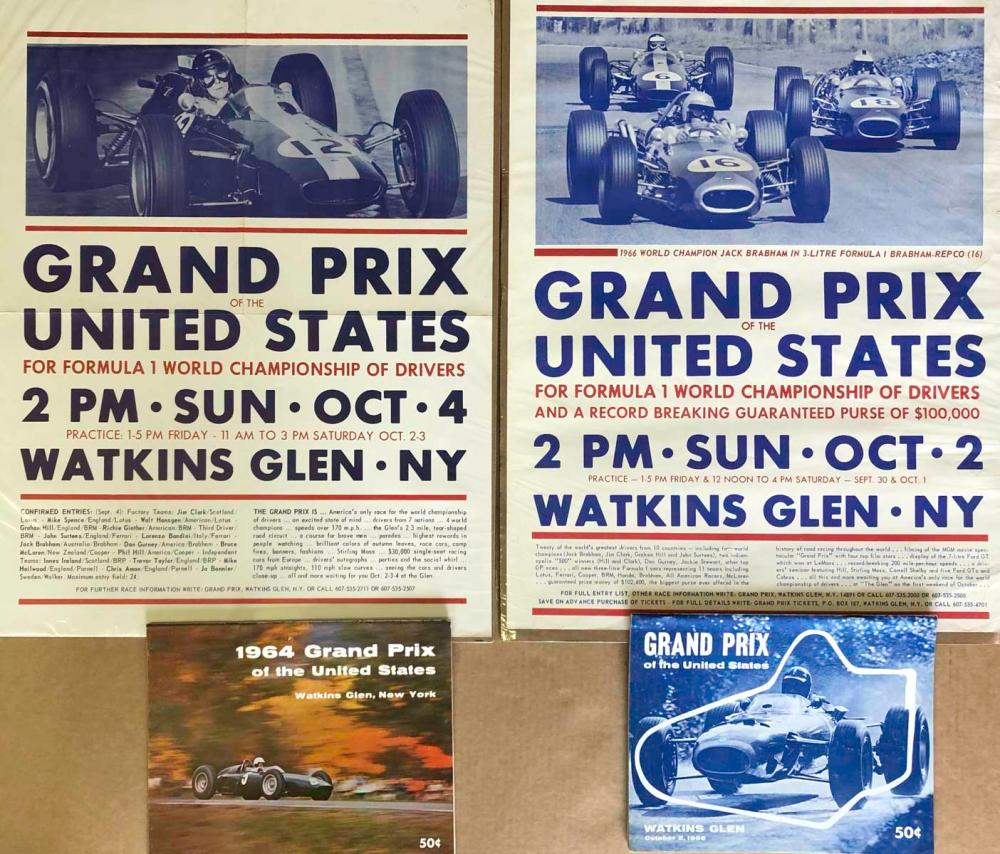 Original 1964 &1966 Watkins Glen posters programs