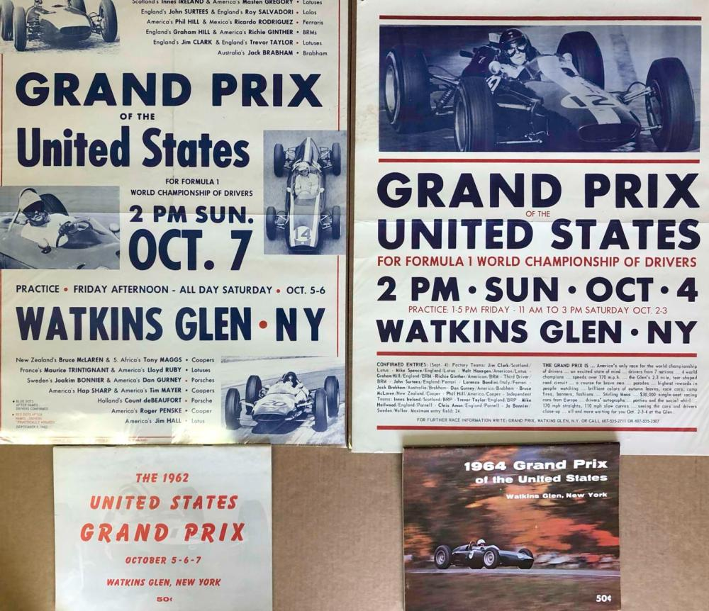 Original 1962 &1964 Watkins Glen posters programs