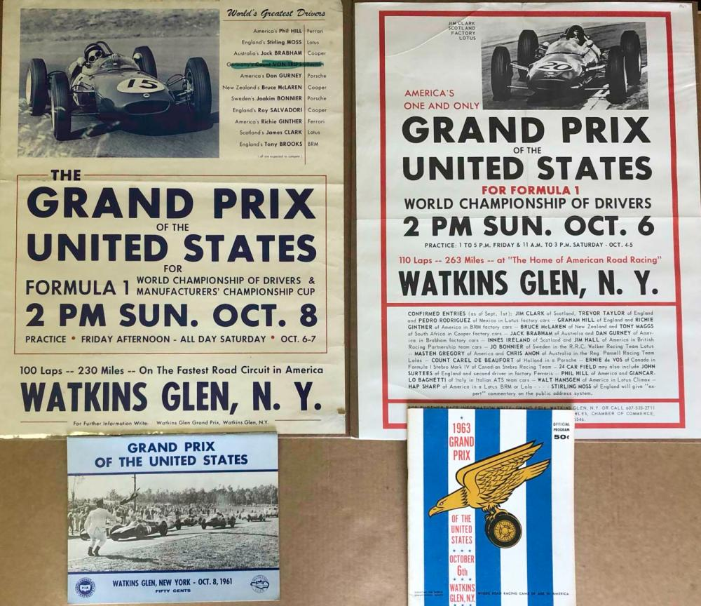 Original 1961 &1963 Watkins Glen posters programs