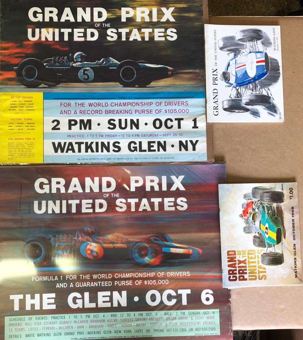 Original 1967 &1969 Watkins glen posters, programs