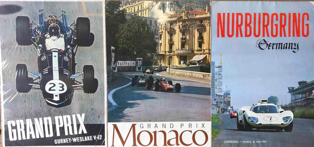 Three race posters, Monaco, Nurburgring, Westlake