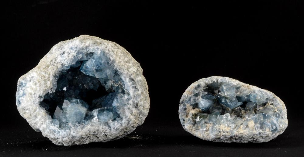 TWO LARGE CELESTITE GEODES