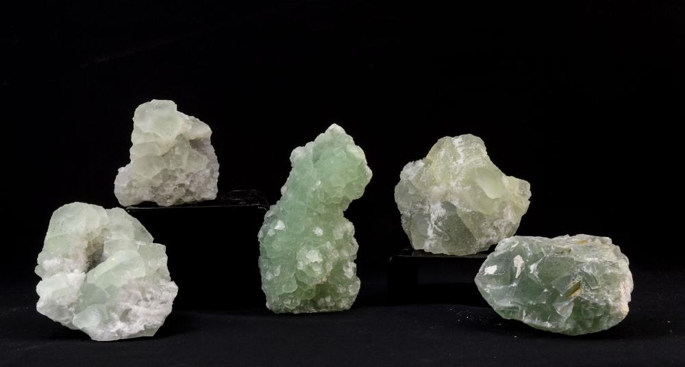 FOUR PIECES OF GREEN FLUORITE