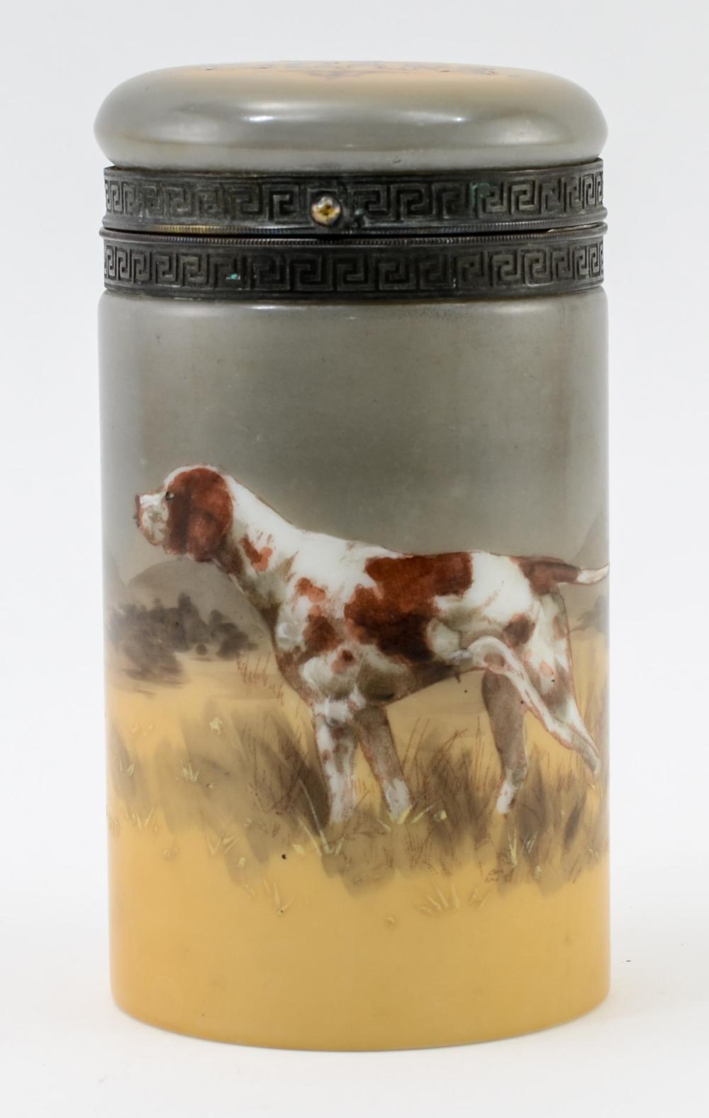 P.J. Handel Ware Hunting Dog Glass Cigar humidor