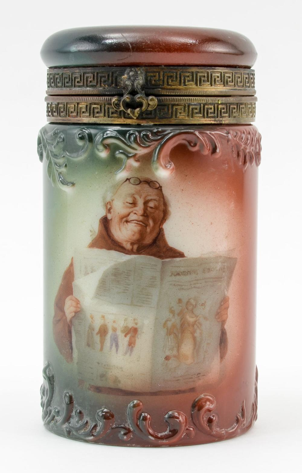 Handel Ware Glass Cigar Humidor w/ Monk