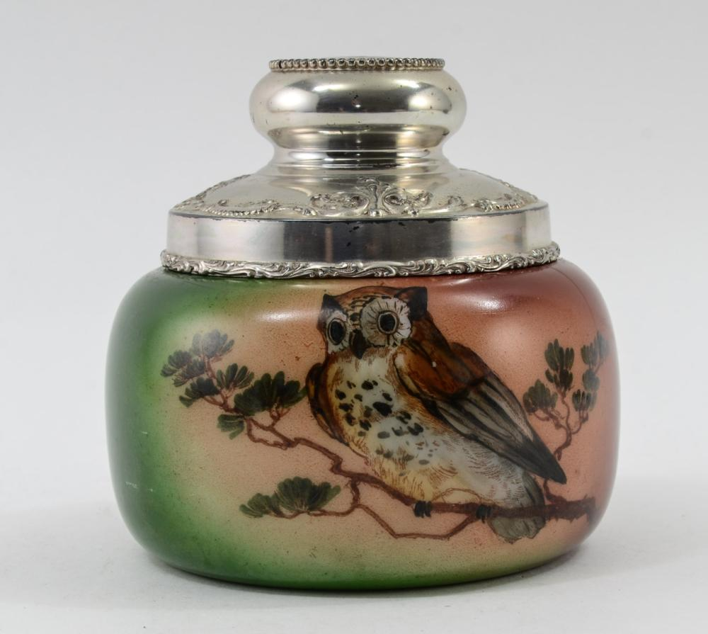 Meriden Decorating Pipe Tobacco Humidor w/ Owl
