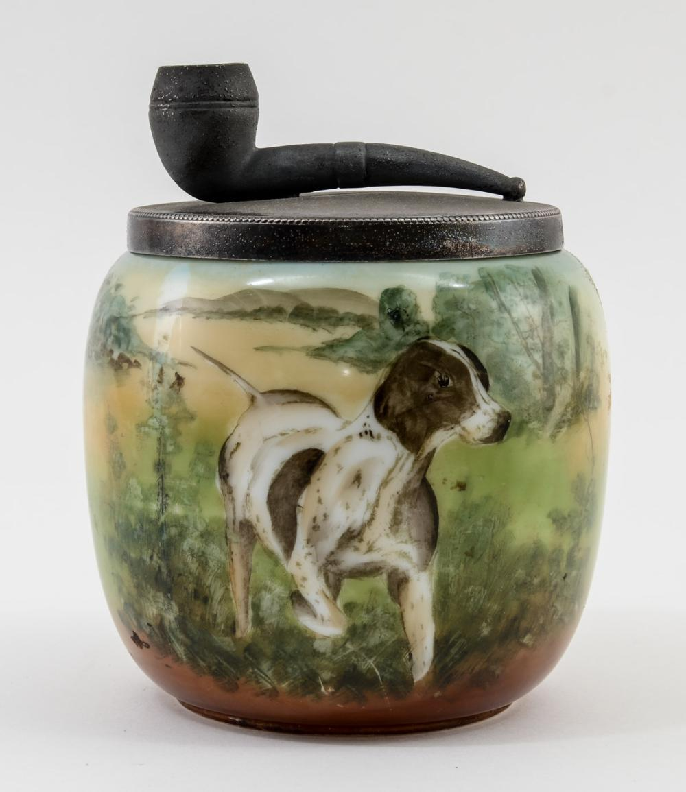 Arts & Crafts Glass Pipe Tobacco Humidor w/ Dog