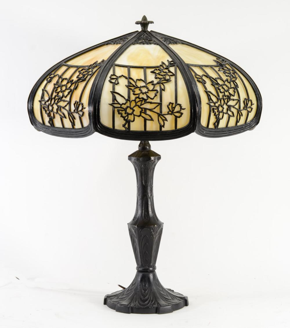 Antique Slag Glass Panel Lamp