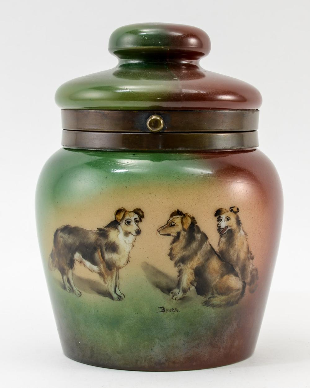 Handel Ware Glass Tobacco humidor w/ dogs