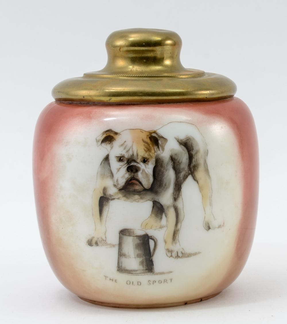 Glass pipe Tobacco Humidor w/ bulldog