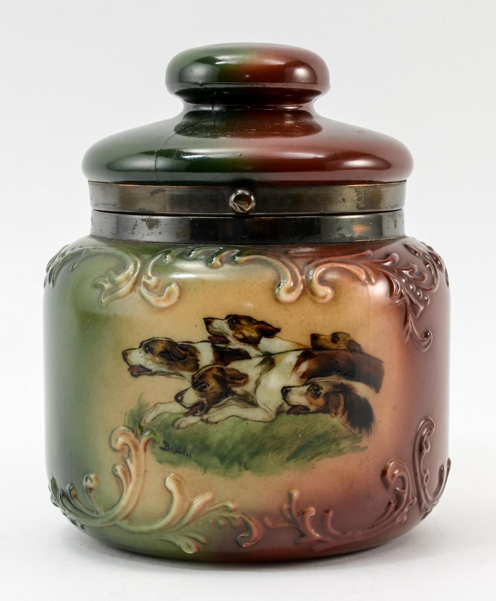 Handel Ware Fancy Glass Tobacco Humidor w/ dogs