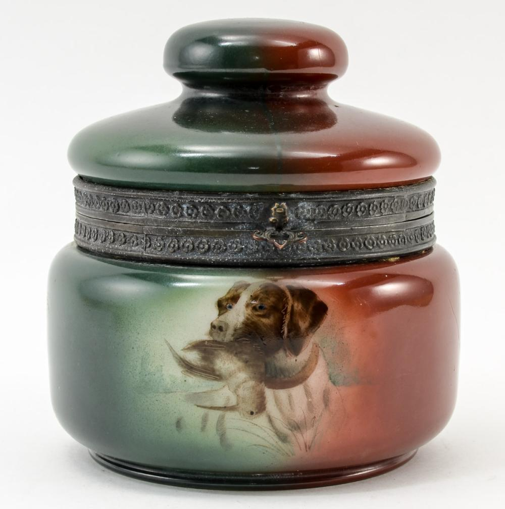 Handel Ware Glass Pipe Tobacco Humidor w/ Bird Dog