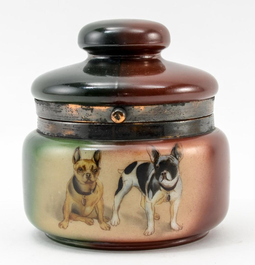Handel Ware Glass Humidor w. French Bulldogs