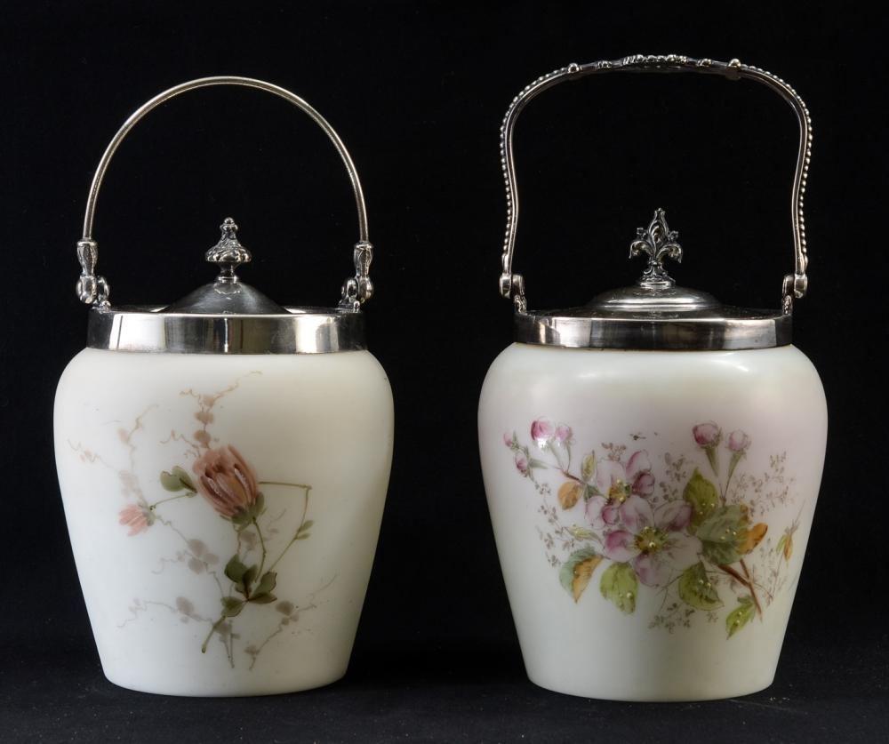 Two Wave Crest Glass Biscuit Jars
