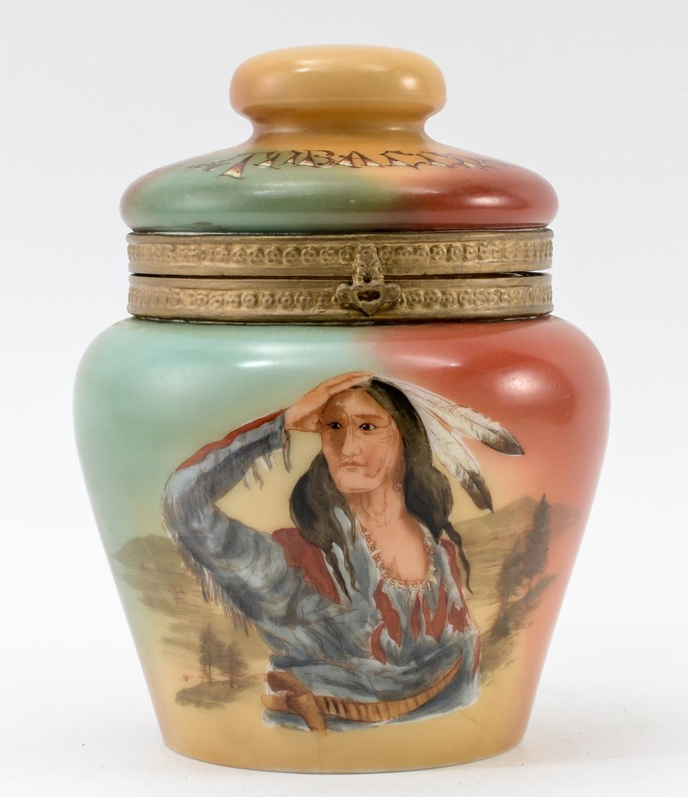 PJ Handel Glass Tobacco Humidor w/ Indian