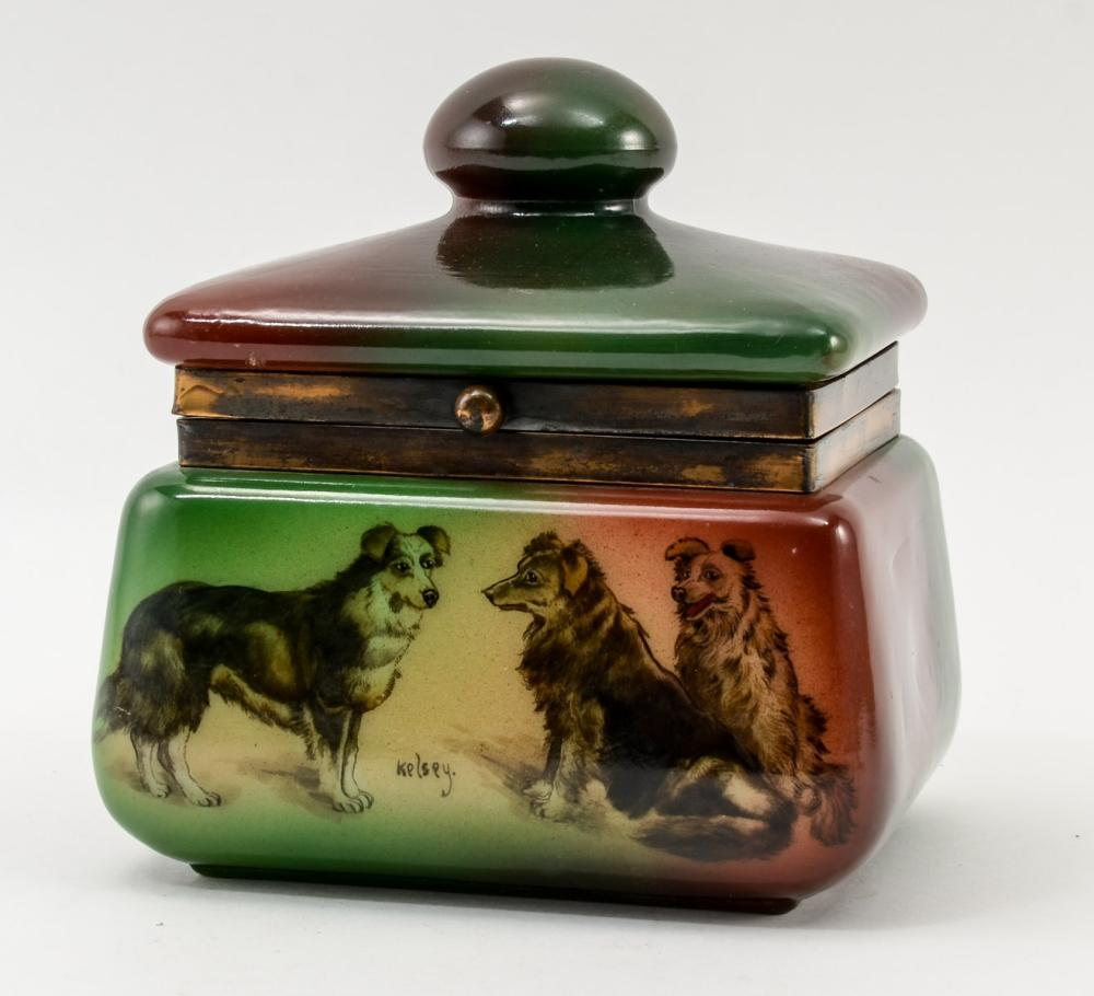 Handel Ware Glass Pipe Tobacco Humidor w/ dogs