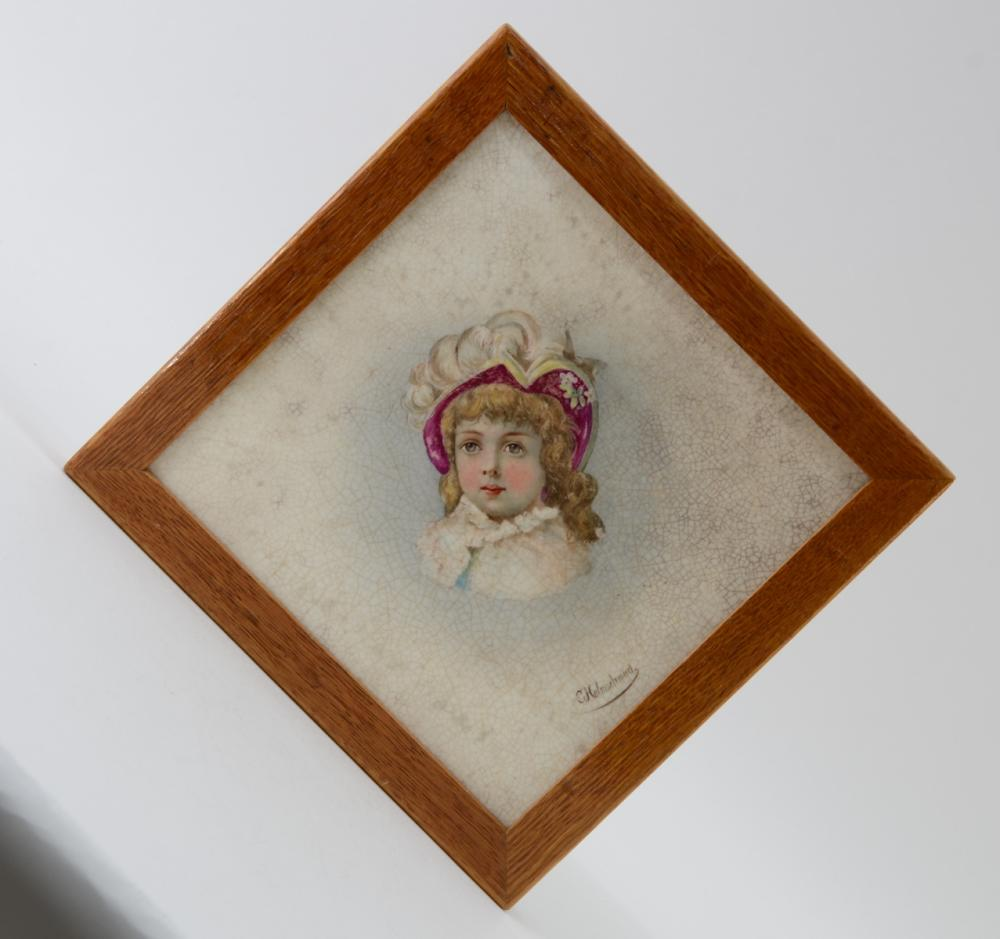 Carl Helmschmied Signed Portrait tile