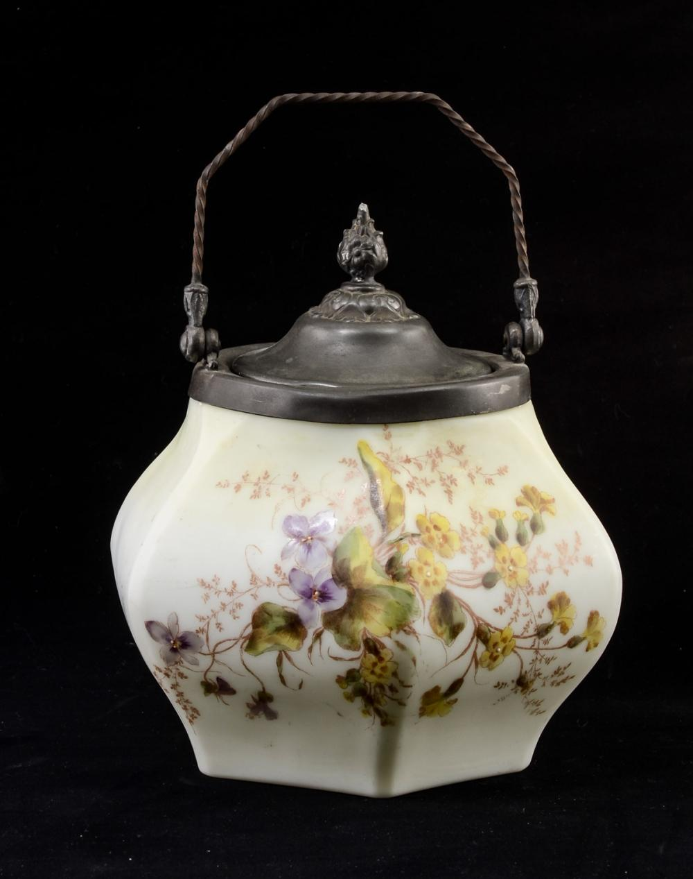 Antique Victorian Glass Biscuit Jar