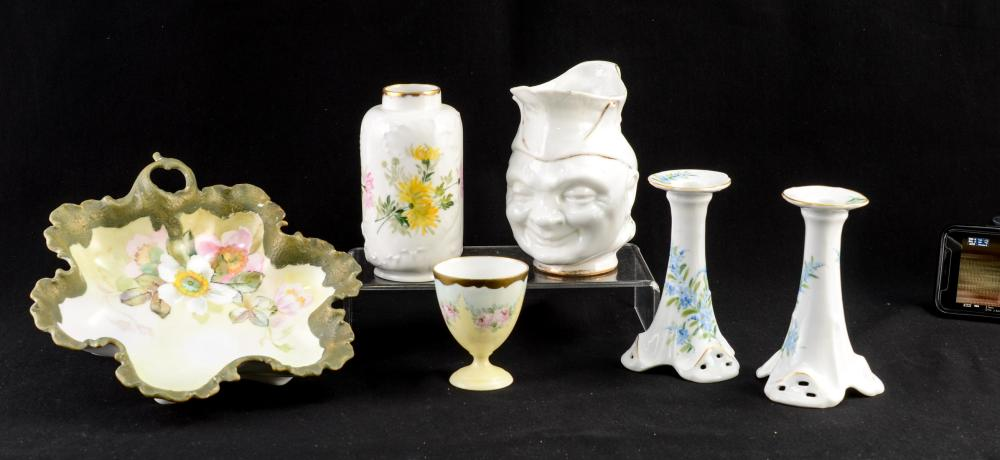 Six Pieces of Handel Ware Painted Porcelain