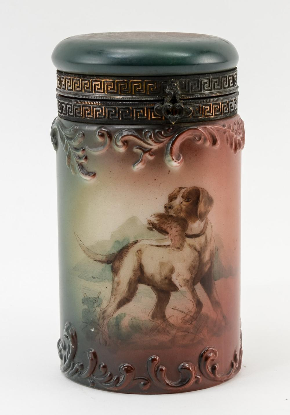 Handel Ware Glass Cigar Humidor w/ dog