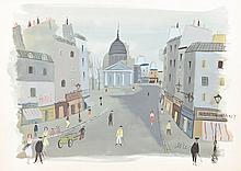 Charles Levier Watercolor: Paris Scene
