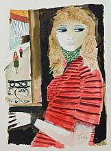 Charles Levier Watercolor: Young Lady
