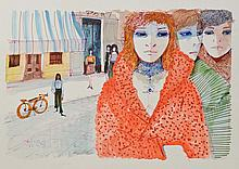Charles Levier Watercolor: Three Women