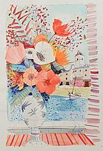 Charles Levier Watercolor: Flowers