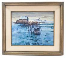 Paul Landry (b. 1933) Iced in Harbor