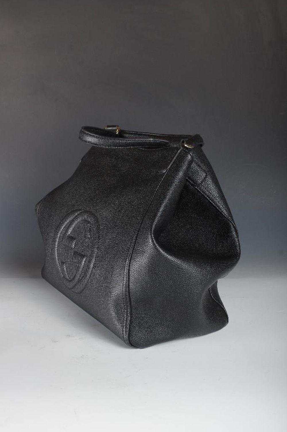 705b791cdf7 Authentic NWOT Large Gucci Soho Black Pebble Leather